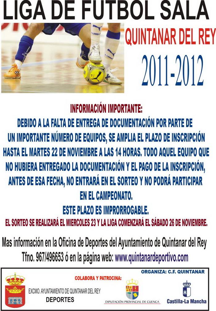 Liga de f tbol sala 2011 12 quintanar del rey abierto for Federacion de futbol sala