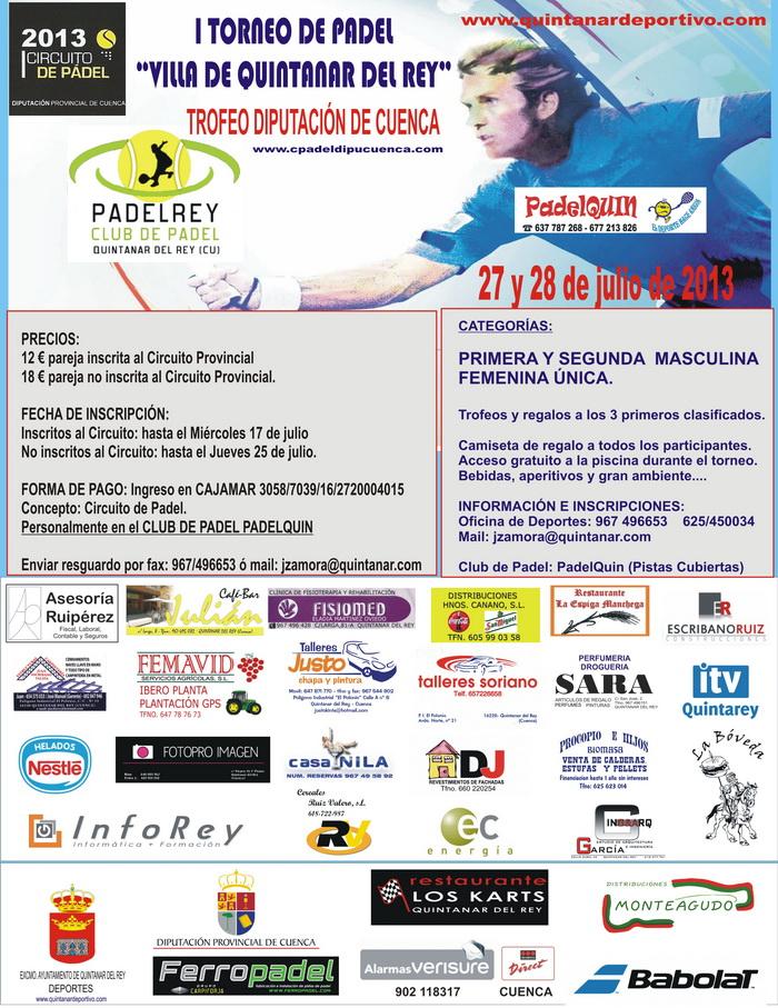 Circuito Quintanar Del Rey : I torneo de padlel quot villa quintanar del rey circuito